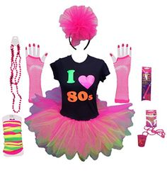 I Love the 80s Ladies Tutu Party Costume Set