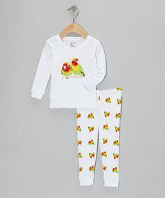 White Parrot Pajama Set - Infant, Toddler & Girls