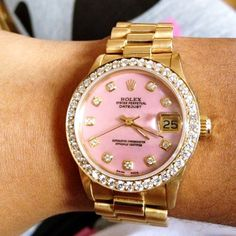 Rolex pink + diamonds #pink #rolex