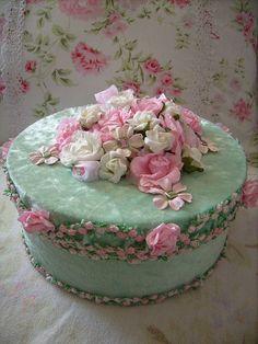 shabby altered boxes | shabby,,,, altered art glittler roses rhinestones cake contest floral ♡