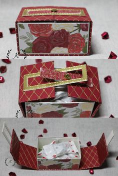 Christmas Gift Box, Christmas Items, Christmas Cards, 3d Projects, Projects To Try, Diy And Crafts, Paper Crafts, Paper Peonies, Punch Board
