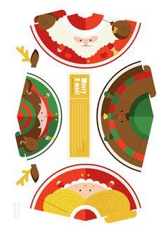 Image detail for -781 noel paper toys template Père Noël, renne et lutins