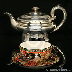 Antiqye tea pots and tea cups | Silver Teapot And An Antique Chinese Cup Of Tea Royalty Free Stock ...