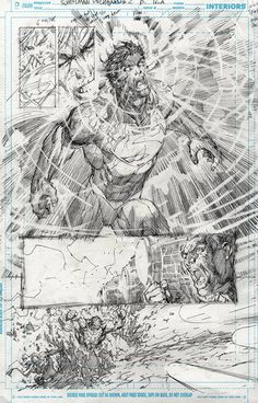 Superman Unchained #2 p.19 interiors (2013) by Jim Lee . I like the pencils more than the final product almost. Lots of energy.