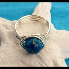 Gemstone Wrap Ring Beautiful Aquamarine Blue Sea Jasper Gemstone Handwrapped With Sterling Silver Plated Wire! Size 7 or Custom Jewelry Rings