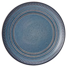 This Pfaltzgraff Expressions Sullivan 4-Piece Dinner Plate Set features an eye-catching embossed design on a solid blue back. Made of stoneware, this simple pattern adds a pop of color to your table setting and complements any flatware and stemware. Set of 4, each 10-1/4 inches. Microwave and dishwasher safe.