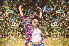 Hipster enjoying confetti Royalty Free Stock Photo