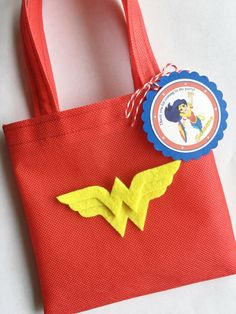 Set of 12 Wonder Woman Favor Bags with by SalomeCrafts on Etsy