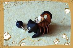Cute black Cat-Zodiac: Scorpio, handmade, polymerclay, miniature figurine, animal, gem stone, jewel, astrology, mobile phone charm, pet
