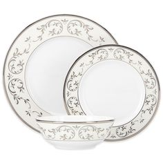 With Opal Innocence Silver Lenox has taken this popular pattern in an elegant and graceful new direction. Glistening silver emphasizes the delicate beauty of the vine motif while broader platinum bands and enamel accents add a touch of luxury. Classic Dinnerware, China Dinnerware Sets, White Dinnerware, China Plates, Plates And Bowls, Clear Coffee Mugs, China Patterns, Place Settings, Table Settings
