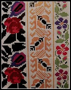 Russian Embroidery, Embroidery Applique, Beaded Embroidery, Cross Stitch Embroidery, Embroidery Patterns, Cross Stitch Borders, Cross Stitching, Cross Stitch Patterns, Palestinian Embroidery