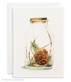 Set of 4 handmade Christmas cards - Xmas Cards, Holiday Cards, Holidays in a bottle watercolor cards