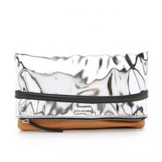 30% off McQ by Alexander McQueen - Clutch Phlox Fold Caramel and Silver - $367.50 #mcq #mcqueen #alexandermcqueen #clutch