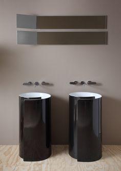 Doppelwaschbecken in Schwarz - Roll Bicolor von Flaminia Bathroom Inspiration, Rolls, Washbasin Design, Roommates, Furniture, Bathrooms, Home Decor, Interiors, Website