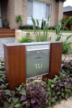 Brick Mailbox, Modern Mailbox, Mailbox Landscaping, Filing Cabinet, Lettering, Landscape, Storage, House, Design