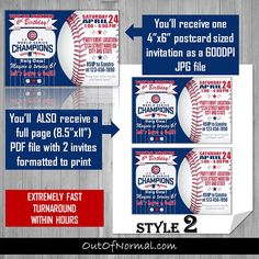 Chicago Cubs Themed Baseball Birthday Party Invitations