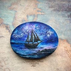 Ship painting on a rock Seashell Painting, Seashell Art, Pebble Painting, Pebble Art, Stone Painting, Stone Crafts, Rock Crafts, Hand Painted Rocks, Painted Stones