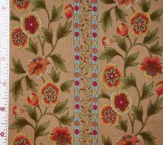 1YD Warm FLOWER VINE STRIPE Beige By The Bloom Free Spirit Quilt Fabric #FreeSpirit