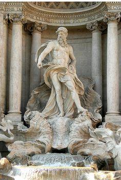 Central statue in the Trevi Fountain, Rome.