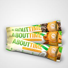 Fruit Nut Protein bars.All Natural Paleo, Dairy Free, Gluten Free. Sweetened with dates and available in 3 flavors. Dark Chocolate Brownie, Island Coconut and Pecan Pie. www TryAboutTime.com