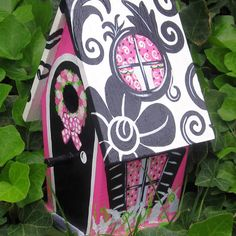 Pink and Black Hand Painted Birdhouse by PaintBrushedBoutique, $39.00