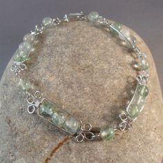 Wirework Bracelet, Green Moss Quartz Bead Bracelet
