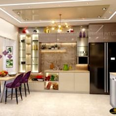 Mr. sunny roy's luxury modern kitchen | kolkata west bengal | cdi custom design interiors pvt. ltd. modern kitchen tiles amber/gold | homify Kitchen Ceiling Design, Kitchen Pantry Design, Interior Design Kitchen, Modern Kitchen Tiles, Aquarium Design, West Bengal, Furniture Design, Kitchen Furniture, Design Interiors