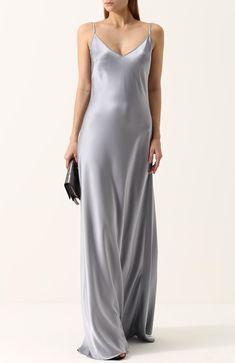Женское светло-серое приталенное однотонное платье-комбинация Jenny Packham, арт. PPD128L купить в ЦУМ | Фото №2