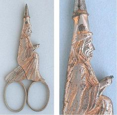 Antique Gilded Steel Salem Witch Scissors by Daniel Low; Circa 1890's