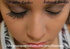 3D Fiber Lashes compared to natural!  If you want long luscious eyelashes, natural, washes off, no glue, and it goes on like mascara! This stuff truly is amazing and its only $29.00  Get's yours today  www.youniqueproducts.com/priscillamosley https://www.facebook.com/lovesmylashes