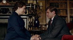 Mrs. Hughes (Phyllis Logan) and Branson (Allen Leech) in Downton Abbey Series 3, Part 7