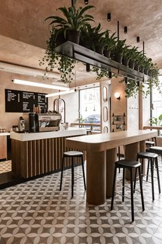 Restaurant, Cafe and Bars Archives Coffee Shop Interior Design, Coffee Shop Design, Restaurant Interior Design, Home Interior, Rustic Coffee Shop, Rustic Cafe, Natural Interior, Restaurant Interiors, Kitchen Rustic