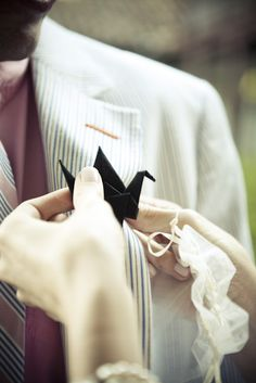 paper crane boutonniere