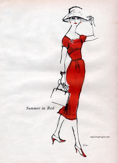 Summer Red by Mollie Parnis, 1956. Sketch by Erica.