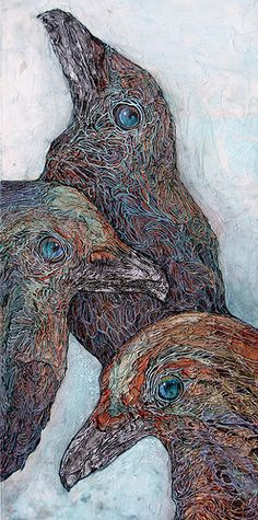"""Curious  © Col Mitchell  24"""" x 12"""" x 1.5""""  Italian Crepe Paper, acrylic, inks  $675"""