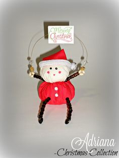 "Santa Claus ""Merry Christmas"" Shelf Sitter by AdrianaJewelryDesign on Etsy"