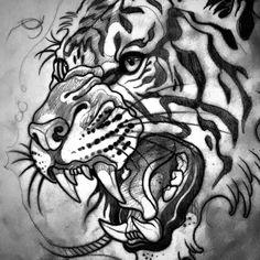 """3,371 Me gusta, 31 comentarios - Sam Clark (@samclarktattoos) en Instagram: """"Tiger style for @mattcauchi_x"""""""