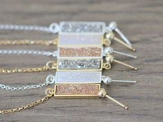 Hey, I found this really awesome Etsy listing at https://www.etsy.com/listing/279651240/druzy-bar-chain-studs-dangle-post