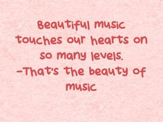 Beautiful music touches our hearts on so many levels. …That's the beauty of music. Visit  http://readmysongreadmysoul.com