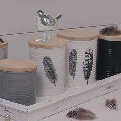 Upcycled Household Storage - Leaning into the journey - recycling containers Craft Storage Containers, Recycling Storage, Craft Storage Solutions, Recycling Containers, Tin Containers, Storage Ideas, Aluminum Can Crafts, Tin Can Crafts, Aluminum Cans