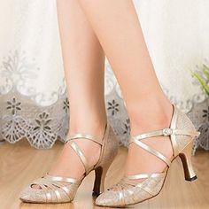 Flash gold material Latin ballroom dance shoes women shoes women dancing shoes soft bottom square dance in high-heeled shoes: Amazon.ca: Sports & Outdoors