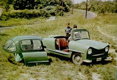 1955 Zappel Balaton. The roof of the Balaton could be pushed backwards with a handle to get access to the cabin, just like in an airplane. Airplane tail wheels all around, and 250-cc Pannonia motorbike engines. Shown with top and doors off.
