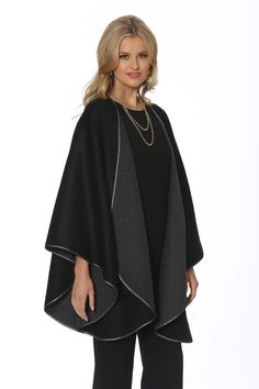 This stunning cashmere cape is two gorgeous capes in one! Wear it on the grey side to enjoy the novelty of wearing a beautiful cashmere cape in soft, flowing sh. Winter Poncho, Cashmere Cape, Poncho Coat, Fashion Dresses, Fashion Cape, Winter Fashion, Vest Jacket, Fashion Forward, Capes