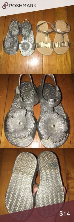 2 pairs of sandals This listing is for a pair of silver-glitter Jellies from Old Navy and a pair of gold sandals from Gymboree. Both are Velcro enclosures and in great condition. See all pictures!! Shoes Sandals & Flip Flops