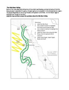 Ancient History - The Nile River Valley Map Activity Ancient Egypt Lessons, Life In Ancient Egypt, Ancient World History, Geography Map, Teaching Geography, Continents And Oceans, 5 Oceans, History Projects, School Projects