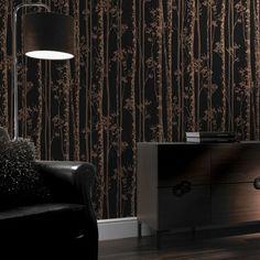 Linden Black and Copper Wallpaper, , large