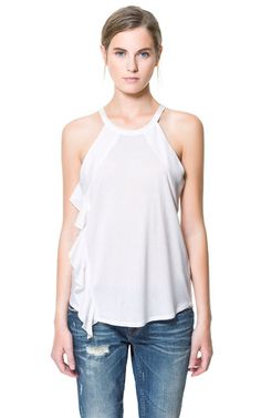 Image 1 of T-SHIRT WITH FRILL AT THE SIDE from Zara