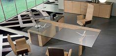 Arredo ufficio design in legno impiallacciato.