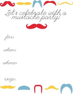 inside: Mustache Party Invitations