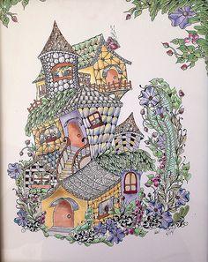 Zentangle-inspired fairy houses